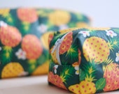 Pineapple pattern boxy Pouch, Kit in coated cotton