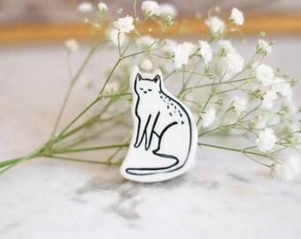 Katze Porzellan emaillierte Brosche - Schmuck - handgemacht - Einzelstück - made in Frankreich