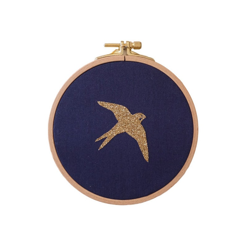 Golden Swallow Wall frame  Blue navy and gold  House  image 0