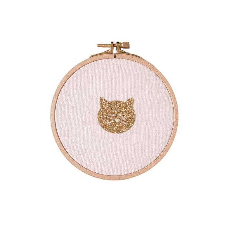 Cute little cat face on Wall frame  Pink and gold  Cat face image 0