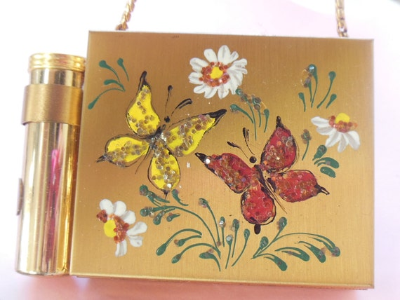 Adorable Tiny Vintage 1950's Hand-painted Glitter