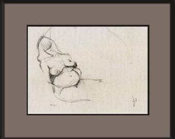 Nude Woman Figure Drawing Original Charcoal Female Unique Simple Classic Realistic Minimal Art, Lying Thinking Resting Realism, OOAK, COA
