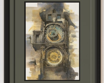 Prague Astronomical Clock Original Watercolor Painting Art of Medieval Historic Architecture Old Building Realism Small Art Gift COA OOAK