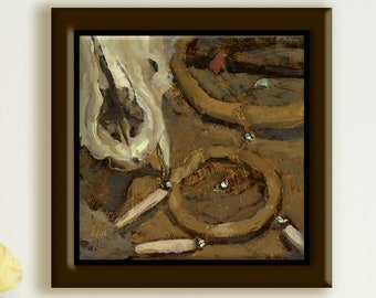 Canine Skull & Dreamcatcher Unique Original Impressionist Daily Oil Painting OOAK COA Realism Painterly Alla Prima Still Life SFA Art Gift
