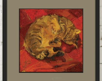 Tabby Cat Painting Archival Giclee Print Bright Red Orange Brown Cute Pet Animal Sleeping on Back Impressionist Square Wall Decor Unframed