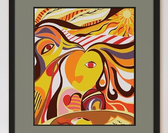 Positive Art Abstract Bright Colorful Modern Archival Giclee Print Self Reflection in Mirror Symbolic Picasso Style Surrealism Portrait Art