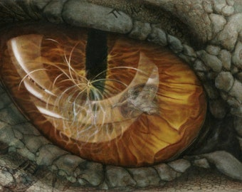Dragon Eye Limited Edition Archival Signed Giclee Print Oil Painting Creation Myths Symbol Realistic Fantasy Art Michelangelo Black Hole COA