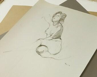 Figure Drawing Nude Woman Resting Original Charcoal Female Sketch Unique Simple Classic Realistic Minimal Art Gesture, OOAK, COA