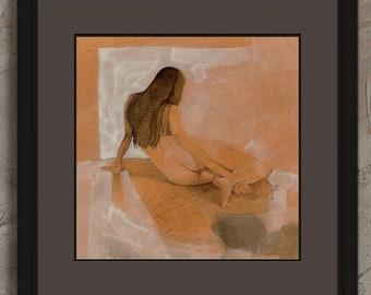 Female Nude Figure Original Drawing Crosshatch Painting Resting Woman Lying Down Back View Realism Unique OOAK White & Orange Wall Art COA