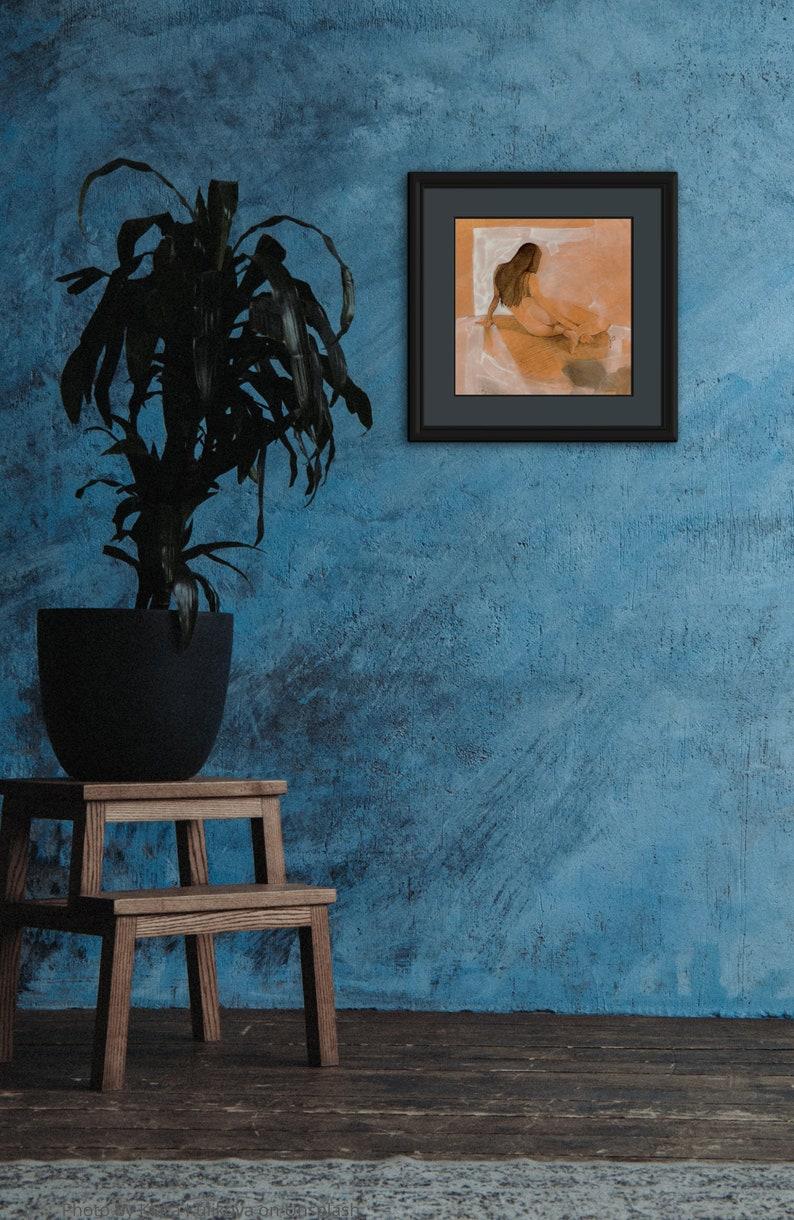 Female Nude Figure Crosshatch Original Drawing Painting image 0