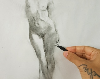 Female Nude Woman Figure Original Charcoal Drawing Standing Unique Simple Classic Realistic Minimal Art, Pole Dancer Realism, OOAK, COA