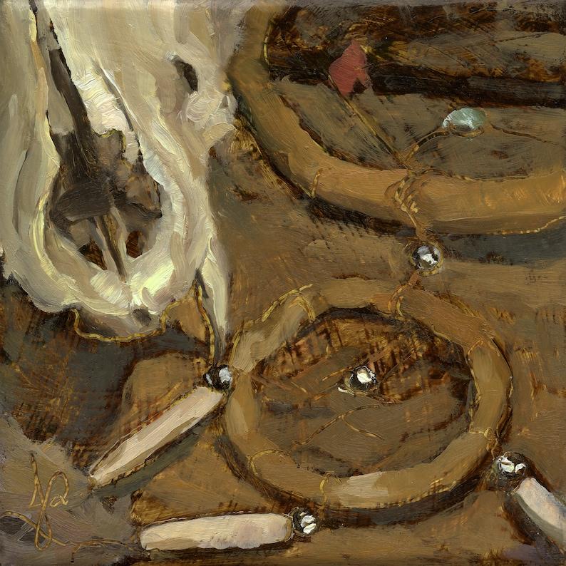 Canine Skull & Dreamcatcher Unique Original Impressionist image 0