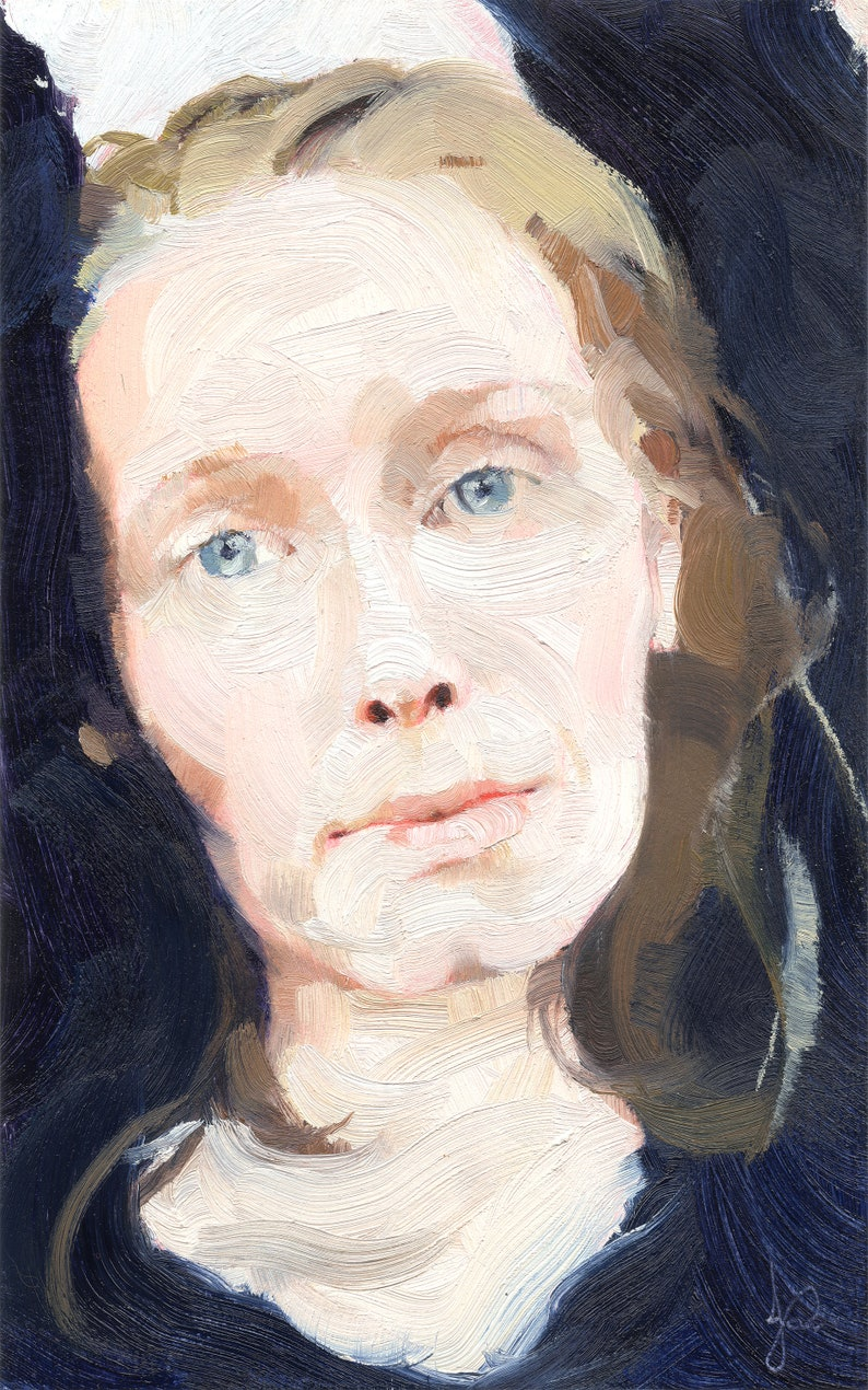 Woman Portrait Oil Painting Painterly Impressionistic Visible image 0