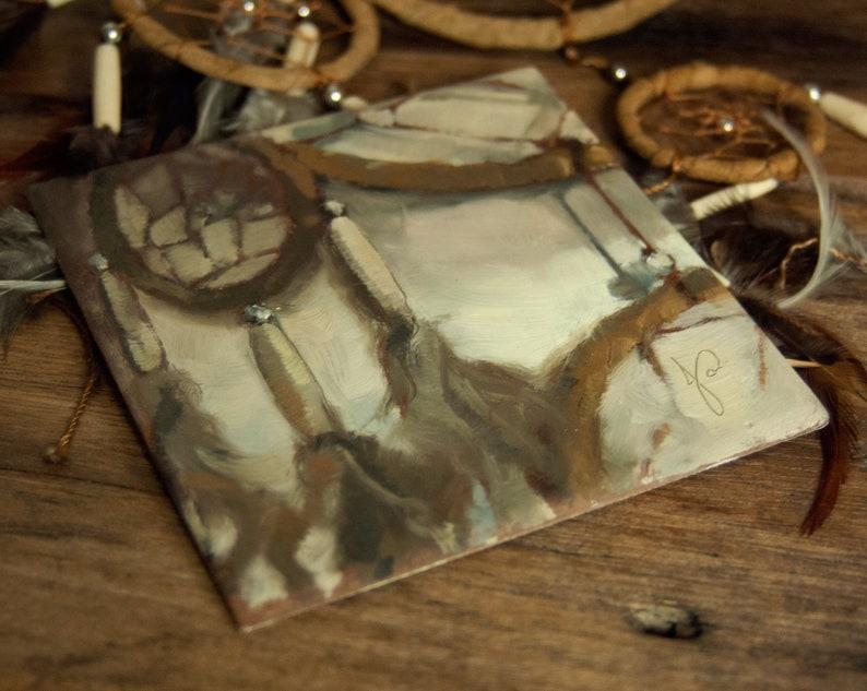 Original Oil Painting of Native American Dreamcatcher Unique image 0
