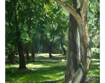 Forest Landscape Painting Trees and Light in Nature Archival Giclee Print Serene Green Plants Small Art Calming Wall Decor Unframed