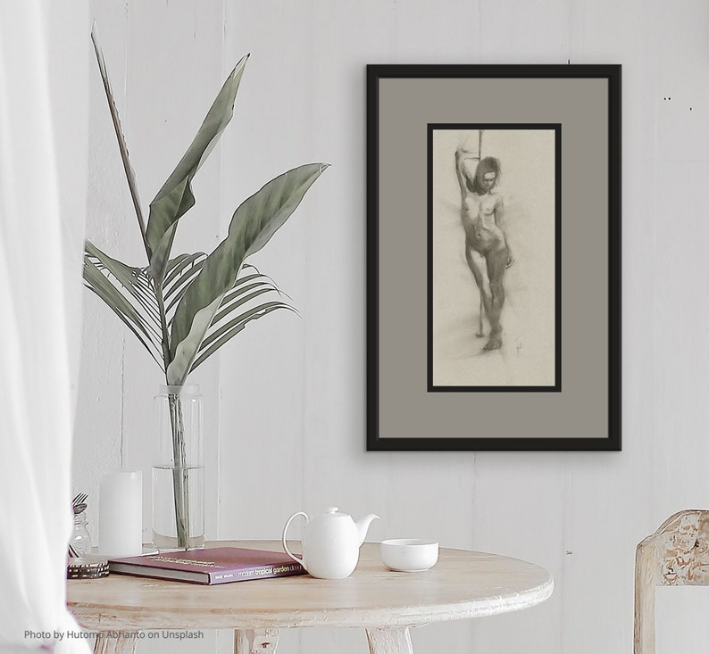 Woman Figure Original Charcoal Drawing Standing Female Nude image 0