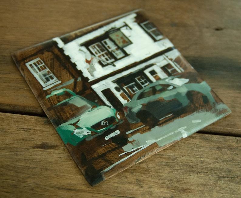 Cityscape Original Oil Painting English Pub Urban Outdoor image 0