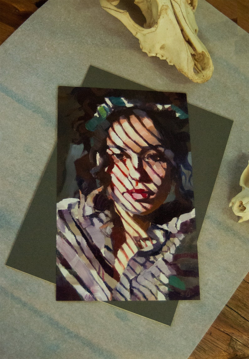 Portrait Oil Painting of Pretty Woman in Interior Light and image 0