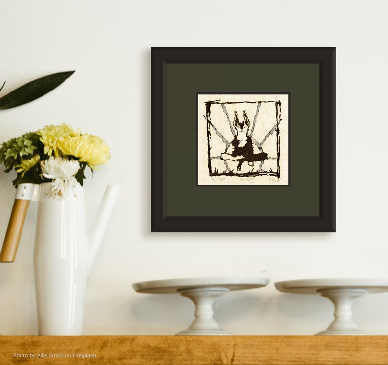 Zen Dog Silverleaf Linocut Relief Print Variable Limited image 0