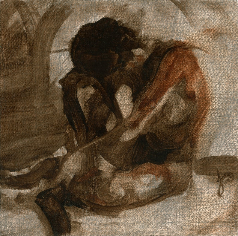 Expressive Female Nude Figure Oil Painting Gesture Original image 0