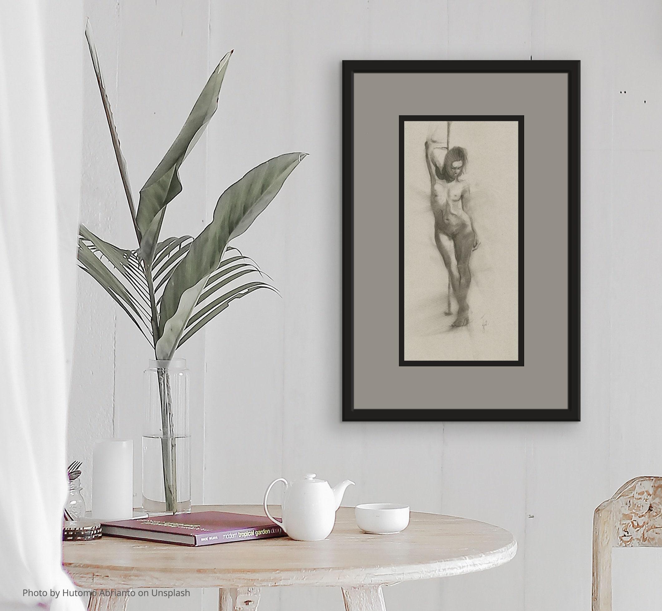 Original Zeichnung Frau Figur Kohle stehend weibliche
