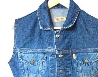 Vintage 90's blue denim vest/ Women's dark wash denim vest/ Button-up denim vest/ Boho jean vest/ Size M