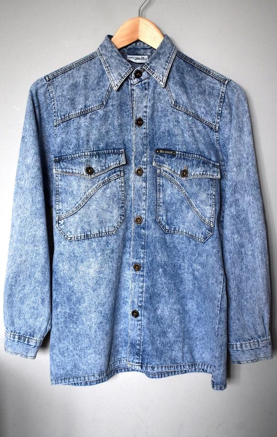 Vintage Denim Blouse shirt  Denim  Top  Jean  Large  L  Floral  Oversized  Country  Blue  Shirts  Grunge  Acid Wash