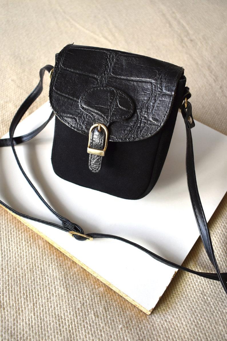 1ec758e4ad Vintage 90's small black suede crossbody bag/ Small messenger bag/ Suede &  alligator faux leather bag/ Hipster, boho, hippie, festival bag