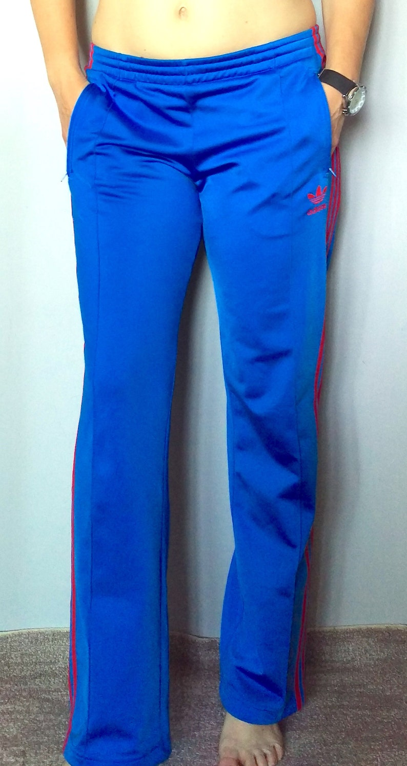 b05f858092a Vintage 90's Adidas blue & red tracksuit bottoms/ 90's | Etsy