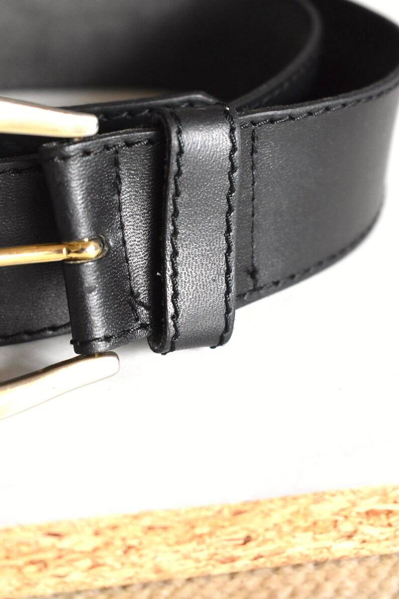 boho Vintage 90/'s black leather belt Chunky buckle belt High-waist belt Silver /& gold bickle belt Hipster streetwear belt