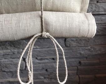 Window blind OSLO/ roll up blind / tie up blind / Swedish blind / oatmeal linen blind / natural linen