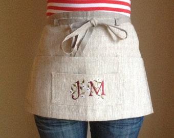Monogram linen utility apron / gardening apron / half apron / teachers apron / waitress apron / personalised gift