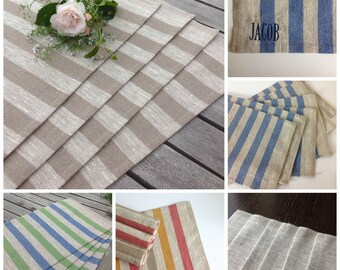 linen placemats / striped linen placemats / rustic linen placemats / personalised placemats