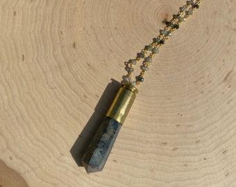 1 Natural Jasper Gemstone Wire Wrapped Bullet Pendant B87