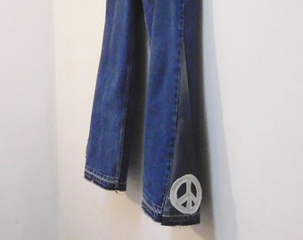 b0383bf95cb Mens Bell Bottom Jeans 38 x 35 Peace Patch Upcycled Super Flare Bellbottom  High Waisted Frayed Hem Plus Size Boho Bohemian 70s Hippie Clothe