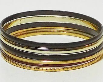 6 Gypsy Bangle Set, Boho Stack Bracelets, Brown, Red, Gold tone, Silver Tone, Vintage Jewelry, 6 pc