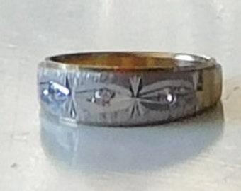 Diamond Chip Band Ring Etsy