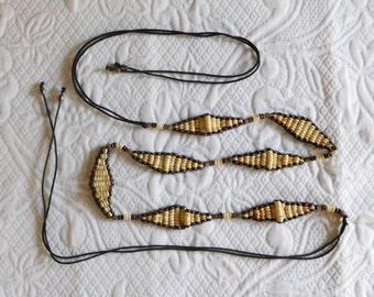 Boho Beaded Tassel Belt, Hippie Tie Belt, Hanging Belt, Skinny Bead Belt, Bohemian Accessory, Braided Woven, Vintage Hippie