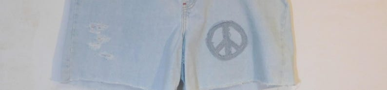 Patchwork Jean Shorts Bleached Jean Shorts Jean Shorts with Patches Jean Shorts for Women Blue Jean Cut OffsSale