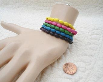 Wood Beaded Bracelet Set Stacked Beads Hippie Bohemian Style Boho Jewelry Elastic Colorful Rasta Indie