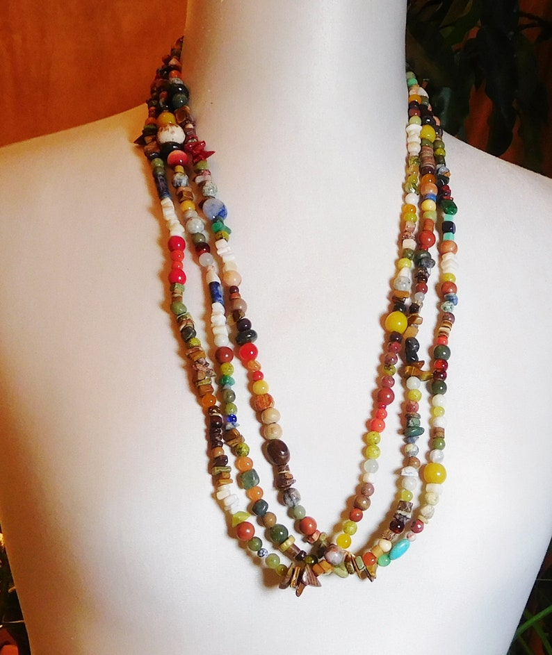 STATEMENT Long Large MULTI COLOURED Multi Strand BEADED Chunky Necklace FESTIVAL