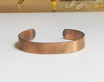 """Wide Copper Bracelet Cuff For Smaller Wrist 1/2"""" Wide 6"""" From End to End Open Back is 1"""" Vintage Jewelry"""