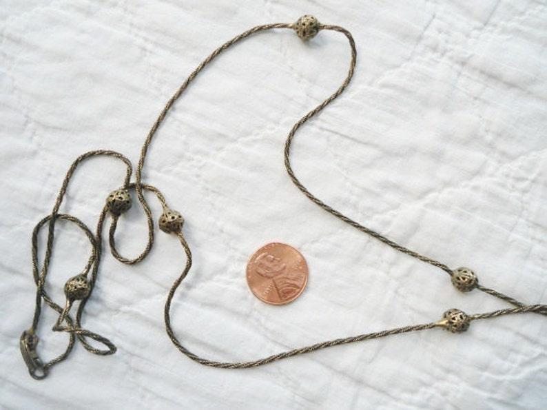 Long Tassel Station Chain Necklace Layering Lavalier Art Nouveau Pronged Settings 33 Retro Citrine Rhinestones Antiqued Brass Jasper
