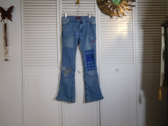 Upcycled Hippie Patchwork Bell Clothes Rise Hip SALE Grunge Clothing Size Woodstock Pant Hugger Recycled 9 Festival Jeans Bottom Low 8I8frq