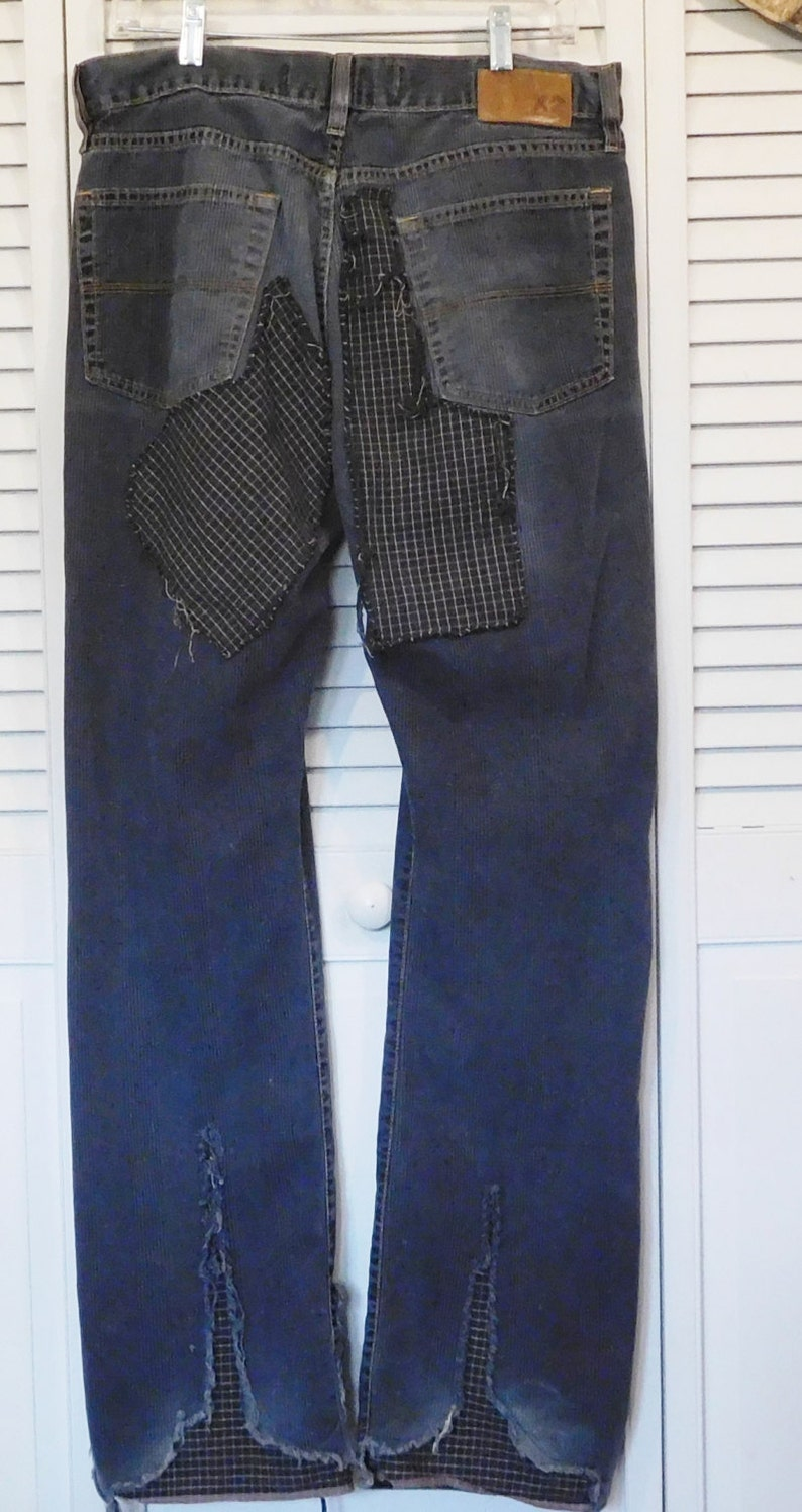 f04fe7ab54f Mens Retro Pants Grunge Hippie Distressed Upcycled Clothing