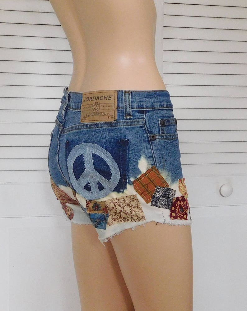 8e21558a Jean Shorts for Women Jean Shorts with Patches Patchwork | Etsy