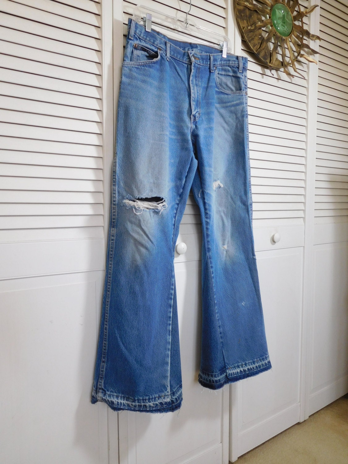 Mens Bell Bottom Jeans Dickies Pants Upcycled Clothes Baggy Leg High Waisted 36 x 33 Distressed Southwest Grunge Hippy Bellbottoms Boho S3A4cRfo