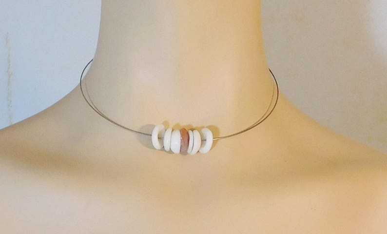90s Puka Choker Necklace Shell Collar Simple Thin Wire Hoop Minimal Beaded Neck Ring Everyday Jewelry Boho Layering Necklace Hippie Sale