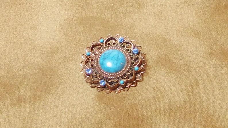 Blue Copper Resin Brooch 0248
