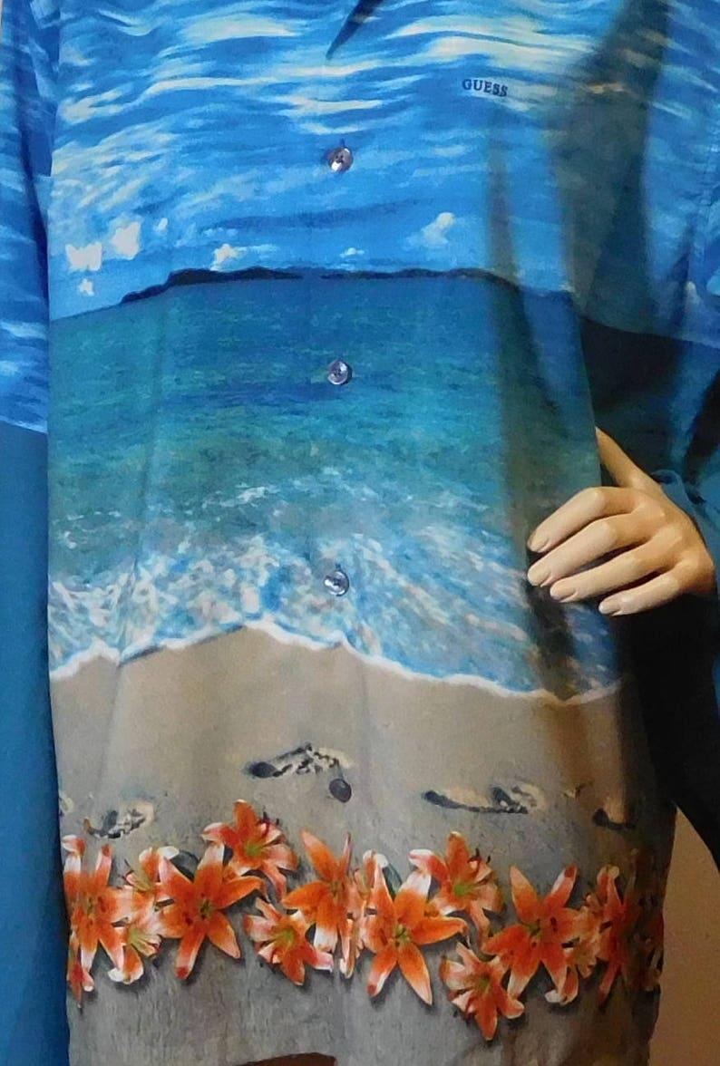 29aeab2b Bell Sleeves Hawaiian Shirt Mens XL Womens Plus Size Blue | Etsy